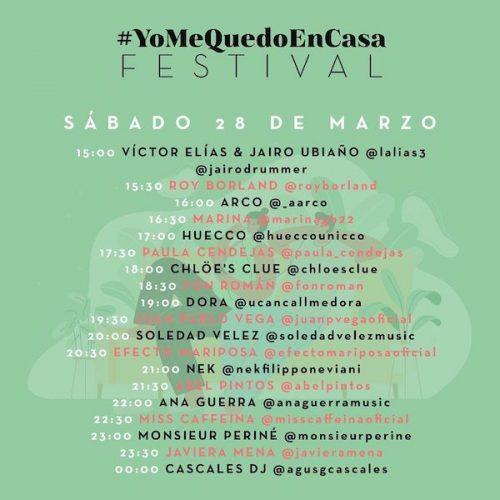 #YoMeQuedoEnCasa Festival con Ana Guerra, Miss Caffeina, NEK o Dora