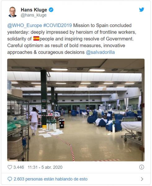 La OMS alaba la solidaridad y el heroismo de los españoles
