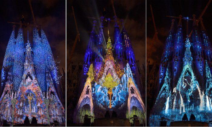 Espectáculo gratis de luces y música en la fachada de la Sagrada Familia