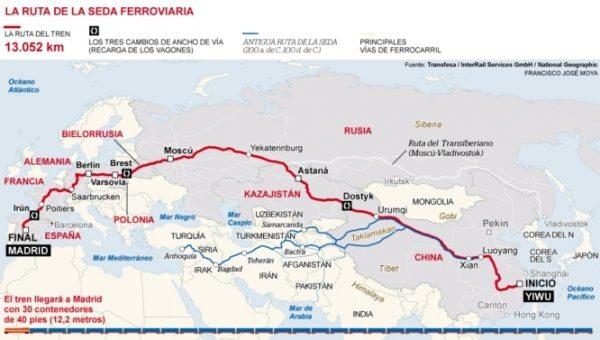El Tren de la Seda trae a Madrid meterial sanitario desde China