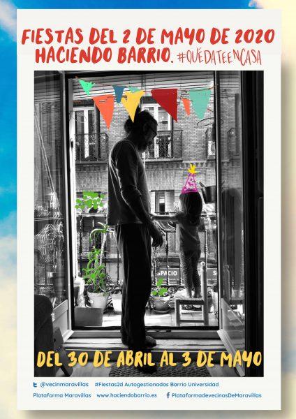 Malasaña celebra las fiestas del 2 de Mayo desde los balcones y las redes