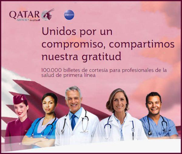 Qatar Airways regala 100.000 billetes de avión a los sanitarios