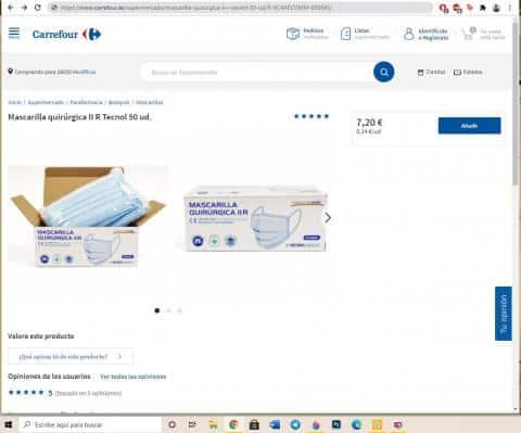 Carrefour lanza mascarillas quirúrgicas a 14 céntimos