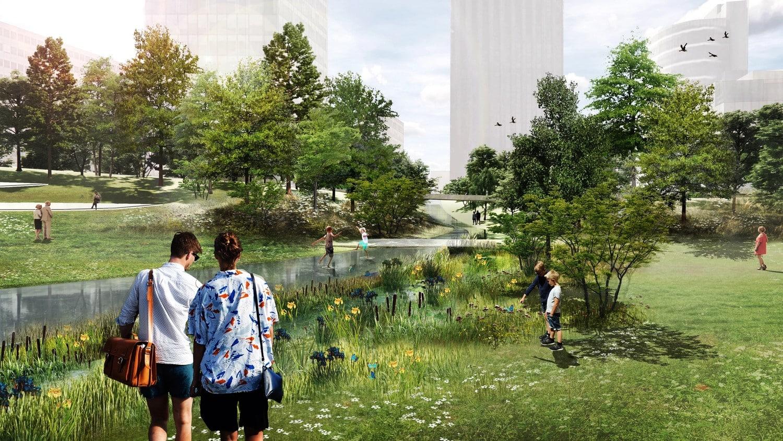 El nuevo Azca contará con una gran pradera, un arroyo y esculturas