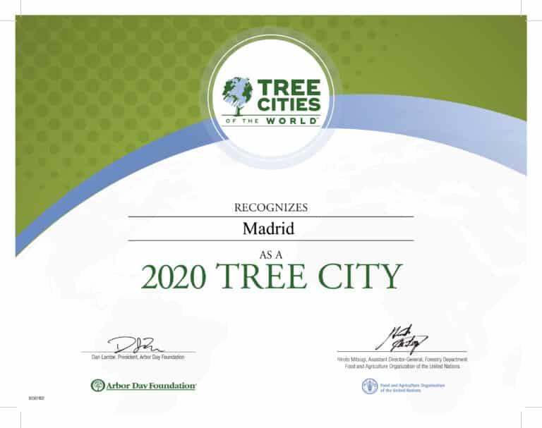 Madrid ha sido reconocida como Ciudad arbórea del mundo 2020