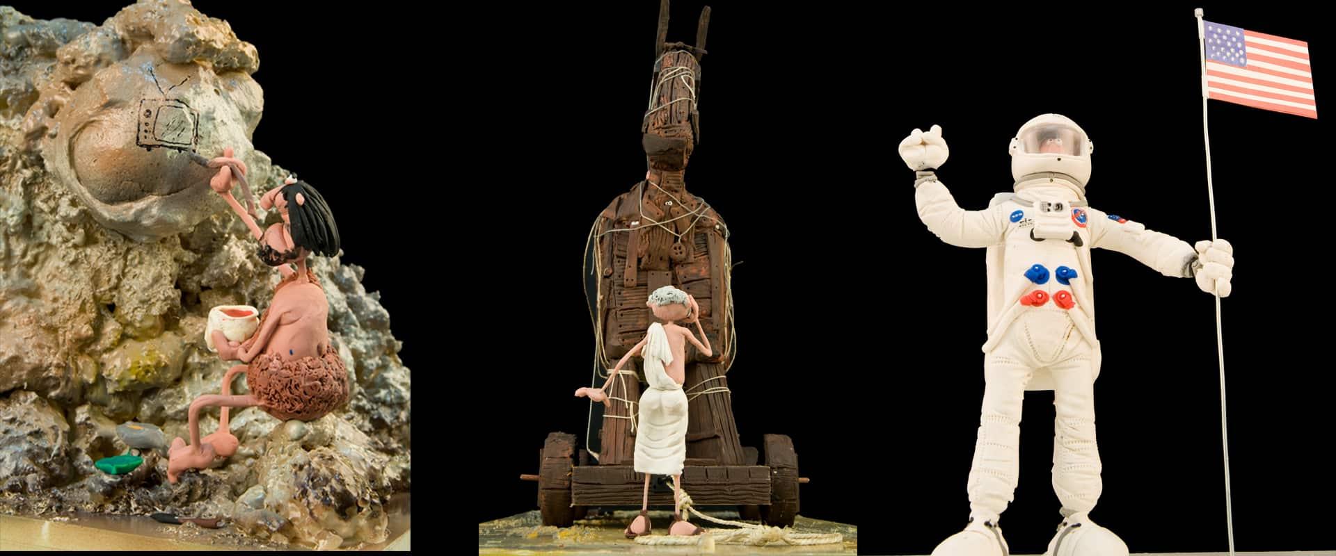Exposición gratuita de la historia de la humanidad con figuras de plastilina